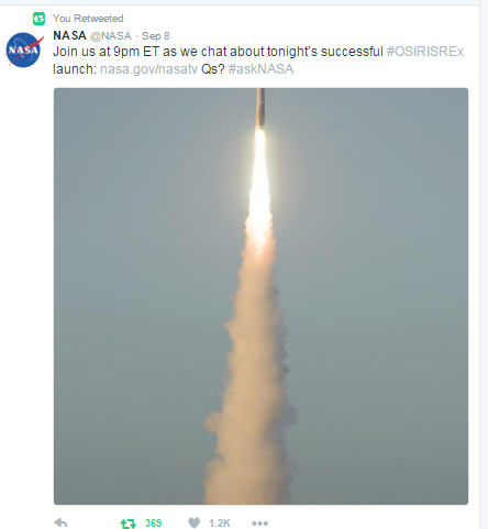 osiris-rex-launch-tweet