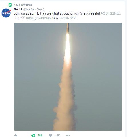 osiris-rex-launch-tweet